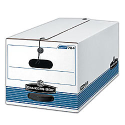 """Bankers Box® Stor/File™ 60% Recycled Storage Box, String & Button, 10""""H x 15""""W x 24""""D, Legal, White/Blue"""