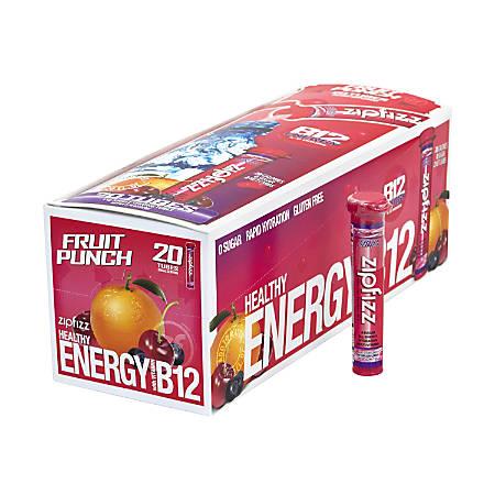 Zipfizz Healthy Energy Dietary Supplement Mix, Fruit Punch, Pack Of 20