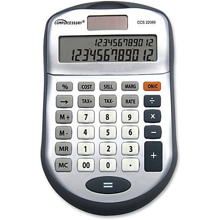 Compucessory 22089 2-line 12-digit Calculator - 2 Line(s) - 12 Digits - Dark Gray - 1 Each