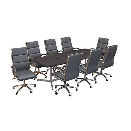 """Bush Business Furniture 96""""W x 42""""D Boat-Shaped Conference Table With Metal Base And Set Of 8 High-Back Office Chairs, Storm Gray, Premium Installation"""