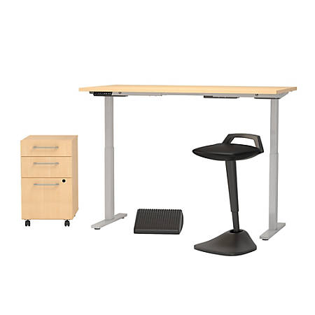 """Bush Business Furniture Move 60 Series 60""""W x 30""""D Adjustable Standing Desk With Lean Stool, Storage And Ergonomic Accessories, Natural Maple, Premium Installation"""