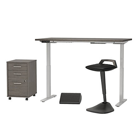"""Bush Business Furniture Move 60 Series 60""""W x 30""""D Adjustable Standing Desk With Lean Stool, Storage And Ergonomic Accessories, Cocoa, Premium Installation"""