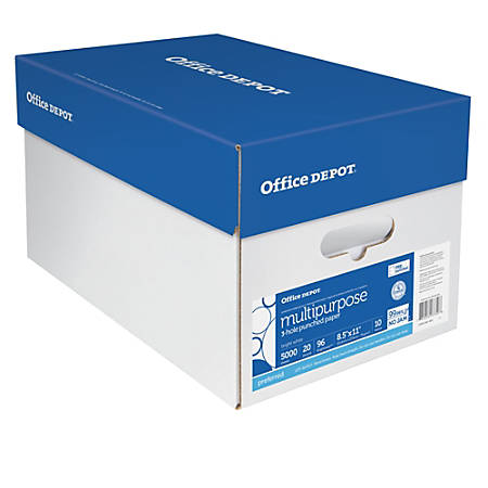 """Office Depot® Multi-Use Paper, 3-Hole Punched, Letter Size (8 1/2"""" x 11""""), 96 (U.S.) Brightness, 20 Lb, Ream Of 500 Sheets, Case Of 10 Reams"""