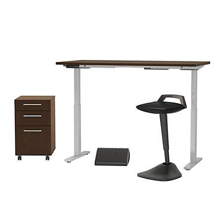"Bush Business Furniture Move 60 Series 60""W x 30""D Adjustable Standing Desk With Lean Stool, Storage And Ergonomic Accessories, Mocha Cherry, Premium Installation"