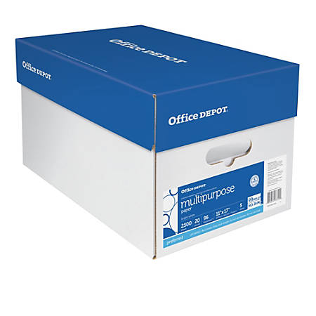 """Office Depot® Multi-Use Paper, Ledger Size (11"""" x 17""""), 96 (U.S.) Brightness, 20 Lb, Ream Of 500 Sheets, Case Of 5 Reams"""