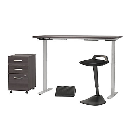 "Bush Business Furniture Move 60 Series 60""W x 30""D Adjustable Standing Desk With Lean Stool, Storage And Ergonomic Accessories, Storm Gray, Premium Installation"