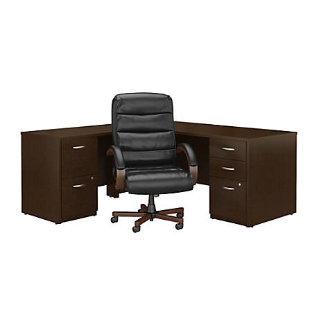 Marvelous Bush Business Furniture Components Elite 72W L Shaped Desk With File Cabinets And High Back Executive Office Chair Mocha Cherry Premium Interior Design Ideas Inesswwsoteloinfo
