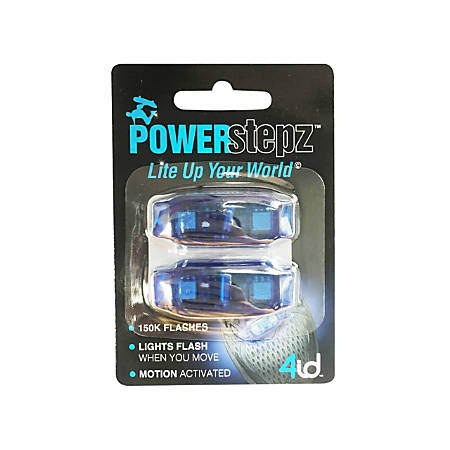 """4ID Power Stepz Motion Activated LEDs, 4""""H x 2 3/4""""W x 1""""D, Blue, Pack Of 2 Lights"""