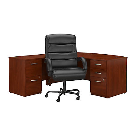 """Bush Business Furniture Components Elite 72""""W Bow-Front L-Shaped Desk With File Cabinets And Big And Tall Office Chair, Hansen Cherry, Premium Installation"""