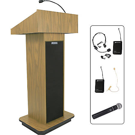 """AmpliVox SW505 - Wireless Executive Sound Column Lectern - Rectangle Top - Sculpted Base - 20.75"""" Table Top Width x 16.50"""" Table Top Depth - 47"""" Height x 22"""" Width x 18"""" Depth - Assembly Required - High Pressure Laminate (HPL), Light Oak"""