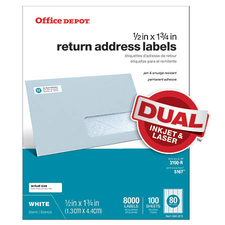 "Office Depot® Brand White Inkjet/Laser Return Address Labels, 505-O004-0014, 1/2"" x 1 3/4"", Pack Of 8,000"