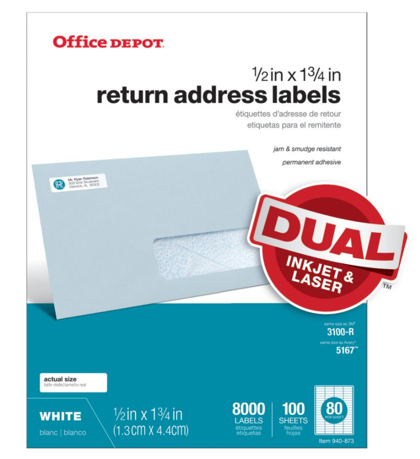 Office depot brand white inkjetlaser return address labels 505 o004 0014 12 x 1 34 pack of 8000 by office depot officemax