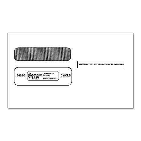 ComplyRight Double-Window Envelopes For W-2 Laser And Continuous Forms, White, Pack Of 50 Envelopes