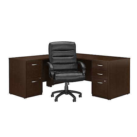 """Bush Business Furniture Components Elite 72""""W L-Shaped Desk With File Cabinets And Mid-Back Executive Office Chair, Mocha Cherry, Premium Installation"""