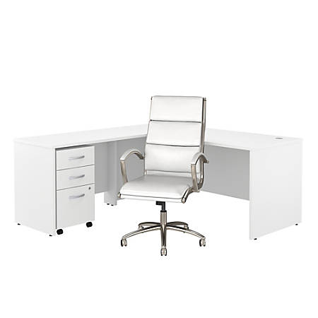 "Bush Business Furniture Studio C 72""W L-Shaped Desk With Mobile File Cabinet And High-Back Office Chair, White, Premium Installation"