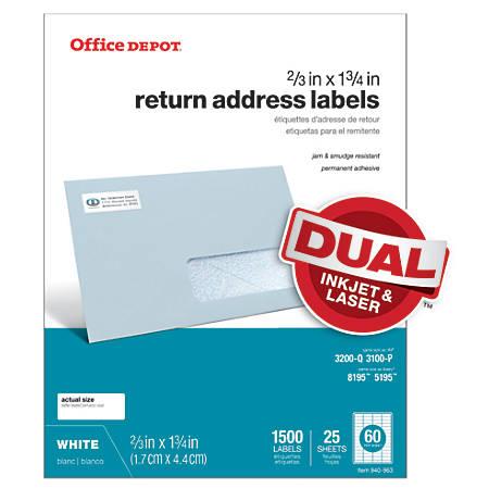 """Office Depot® Brand White Inkjet/Laser Return Address Labels, 505-O004-0015, 2/3"""" x 1 3/4"""", Pack Of 1,500"""