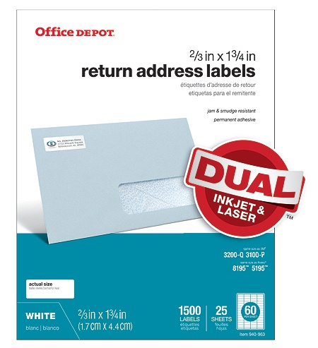 Office Depot Brand White InkjetLaser Return Address Labels 505 O004 ...