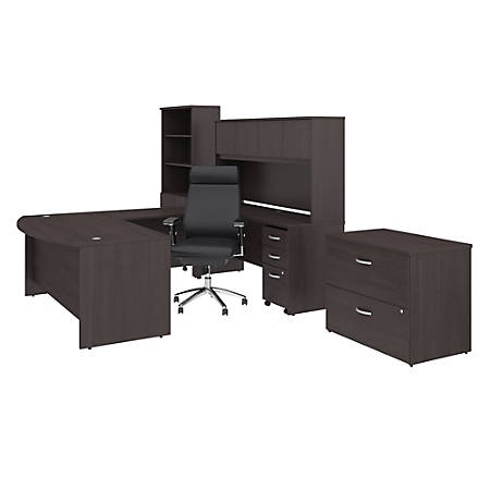"""Bush Business Furniture Studio C 72""""W x 36""""D U-Shaped Desk With Hutch, Bookcase, File Cabinets And High-Back Office Chair, Storm Gray, Premium Installation"""