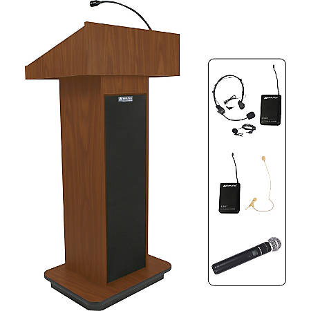"AmpliVox SW505 - Wireless Executive Sound Column Lectern - Rectangle Top - Sculpted Base - 20.75"" Table Top Width x 16.50"" Table Top Depth - 47"" Height x 22"" Width x 18"" Depth - Assembly Required - High Pressure Laminate (HPL), Mahogany"