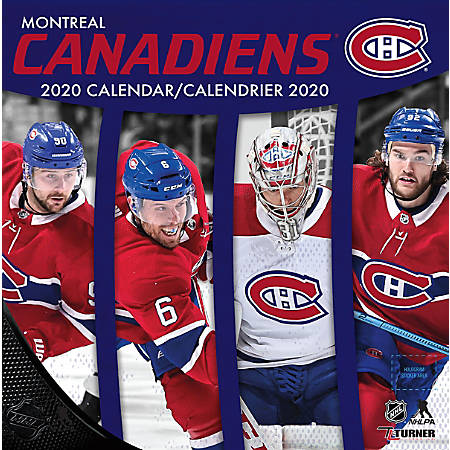 "Turner Licensing Monthly Wall Calendar, 12"" x 12"", Montreal Canadiens, 2020"