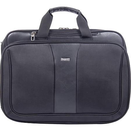"bugatti Executive Carrying Case (Briefcase) for 17"" Notebook - Black - Damage Resistant - Synthetic Leather, Ballistic Nylon - Handle, Shoulder Strap - 13"" Height x 18"" Width x 8"" Depth"