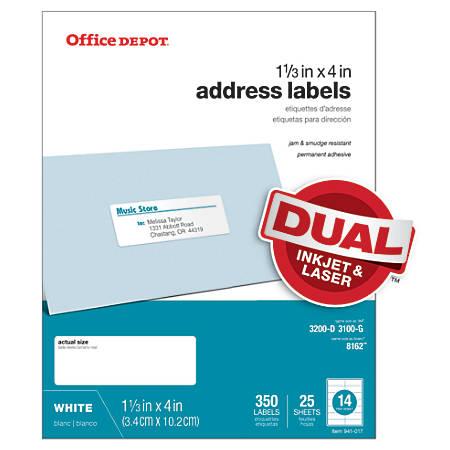 "Office Depot® Brand White Inkjet/Laser Address Labels, 505-O004-0018, 1 1/3"" x 4"", Pack Of 350"