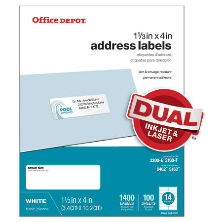 "Office Depot® Brand White Inkjet/Laser Address Labels, 505-O004-0019, 1 1/3"" x 4"", Pack Of 1,400"
