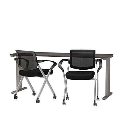 """Bush Business Furniture 400 Series 72"""" X 24"""" Training Table With 2 Mesh-Back Folding Chairs, Storm Gray, Premium Delivery"""