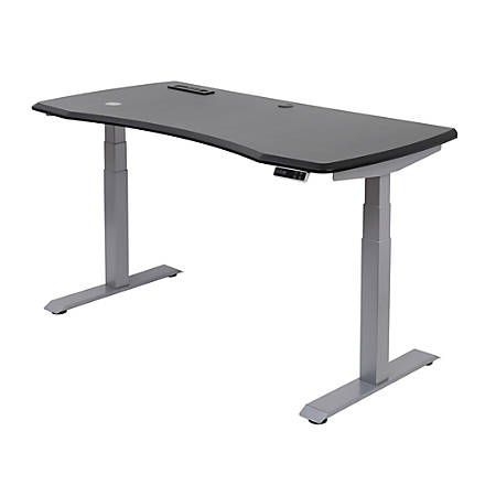 """WorkPro® 60""""W Electric Height-Adjustable Standing Desk with Wireless Charging, Black"""