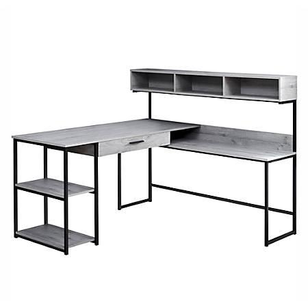 Monarch Specialties Corner Workstation Computer Desk, Gray/Black