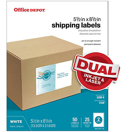 "Office Depot® Brand White Inkjet/Laser Shipping Labels, 505-O004-0022, 5 1/2"" x 8 1/2"", Pack Of 50"