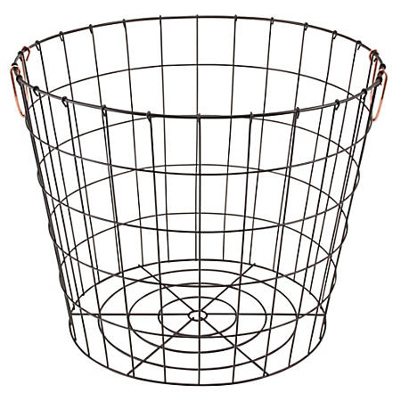 "Realspace® Round Metal Wire Basket with Copper Handles, 18"" H x 14 1/2 D"