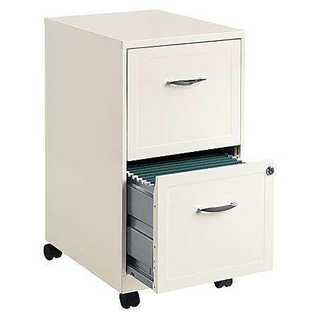 "Realspace® 18""D 2-Drawer Metal Mobile Vertical File Cabinet, Pearl White"