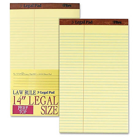 "TOPS™ Law-Ruled Writing Pad, 8 1/2"" x 14"", 50 Sheets, Canary"