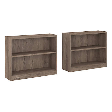 """Bush Furniture Universal 30""""H 2-Shelf Bookcases, Rustic Gray, Set Of 2 Bookcases, Standard Delivery"""