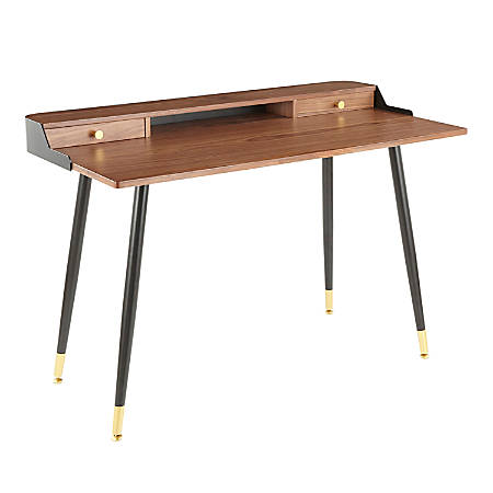 "LumiSource Harvey 48""W Desk, Walnut/Black"