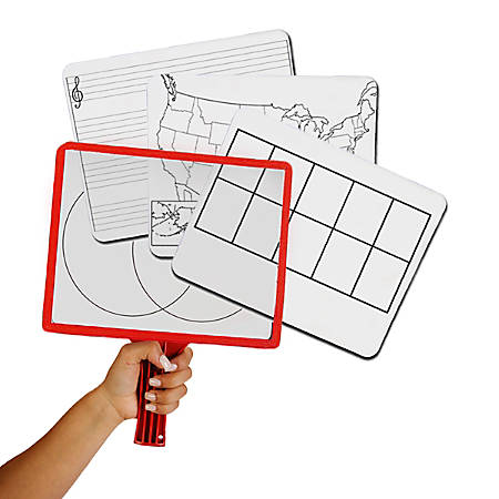 KleenSlate Rectangular Dry-Erase Paddle Set, Assorted Colors, Set Of 12