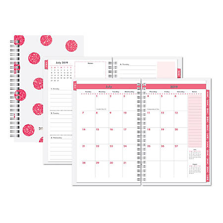 """Office Depot® Brand Glitter Weekly/Monthly Academic Planner, 5"""" x 8"""", White/Pink, July 2019 to June 2020"""
