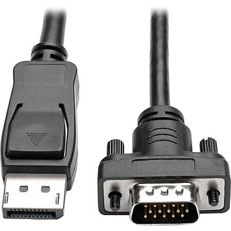 "Tripp Lite 10ft DisplayPort to VGA Cable / DP to VGA Adpater Latches to HD15 M/M - DisplayPort/VGA for Monitor, Desktop Computer - 10 ft - 1 x DisplayPort Male Digital Audio/Video - 1 x HD-15 Male VGA - Black"""