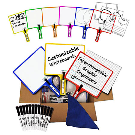 KleenSlate Customizable Whiteboards with Clear Dry Erase Sleeves-Set of 36