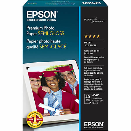 """Epson® Photo Paper, 4"""" x 6"""", 93 Brightness, Pack Of 40 Sheets"""