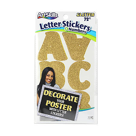 "Artskills® Alpha Stickers, 2"", Gold Glitter, Pack Of 72"