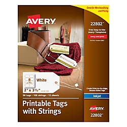 Avery Printable Tags With Strings Rectangle