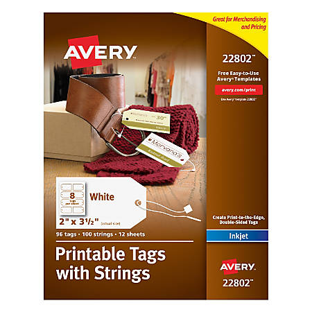 Avery Printable Tags With Strings Rectangle 2 X 3 12 White Pack Of