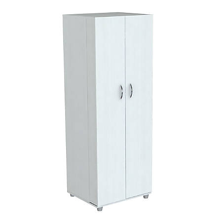 "Inval Storage Cabinet, 14-Shelves, 66""H, Laricina White"