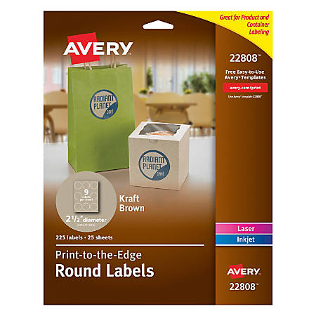 "Avery® Print-To-The-Edge Permanent Inkjet/Laser Round Labels, 22808, 2 1/2"" Diameter, 100% Recycled, Kraft Brown, Pack Of 225"