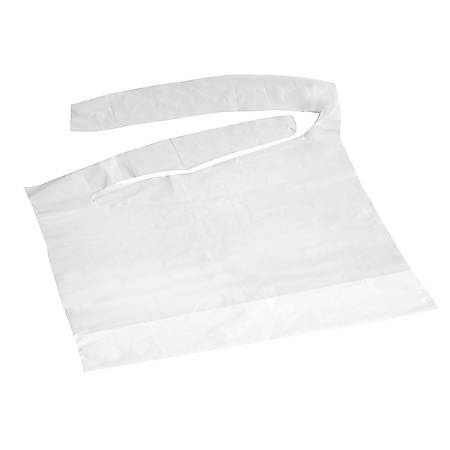 "Medline Waterproof Plastic Bibs With Crumb Catchers, 16"" x 24"", White, Case Of 500"