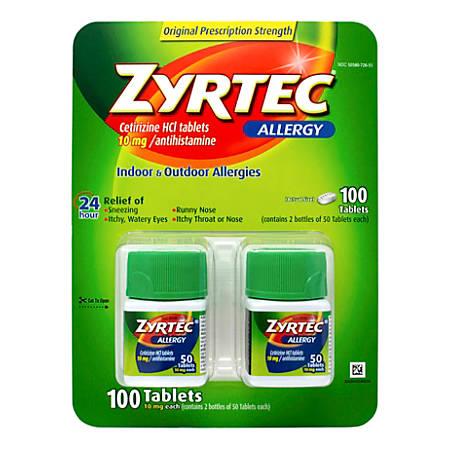 Zyrtec Antihistamine Allergy Tablets, 50 Tablets Per Bottle, Pack Of 2 Bottles