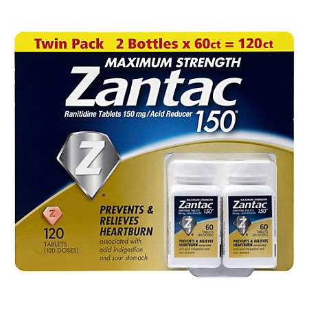 Zantac Maximum Strength Acid Reducer Tablets, 60 Tablets Per Bottle, Pack Of 2 Bottles