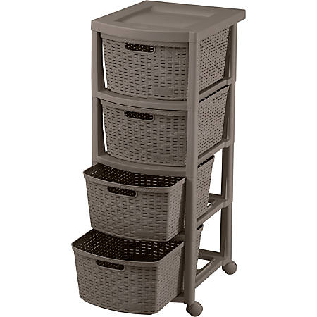 Rimax Rolling Storage Cart, 4-Drawer, Mocca